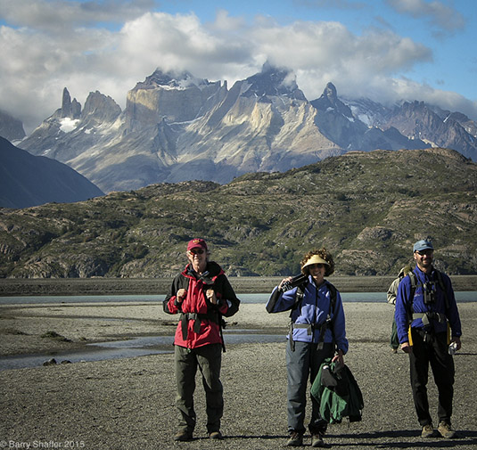 Barry, Barbara and guide in Patagonia